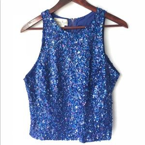 Tops - Vintage Sequin Blue Holiday Party Top
